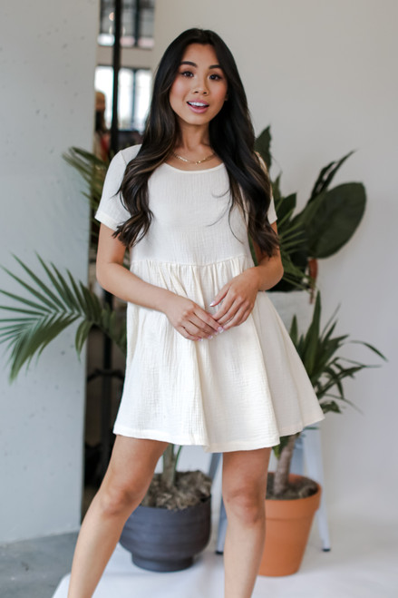 Ivory - Linen Babydoll Dress