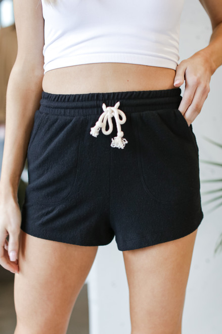 Black - Brushed Knit Lounge Shorts from Dress Up