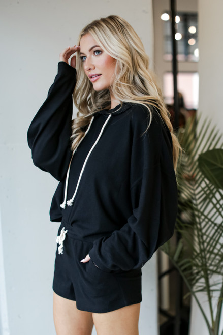 Black - Oversized Brushed Knit Hoodie from Dress Up