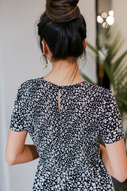 Close Up of the back of a Smocked Floral Maxi Dress