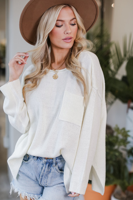 Ivory - Oversized Knit Sweater