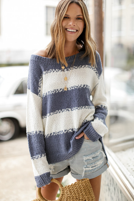Light Blue - Oversized Striped Knit Sweater
