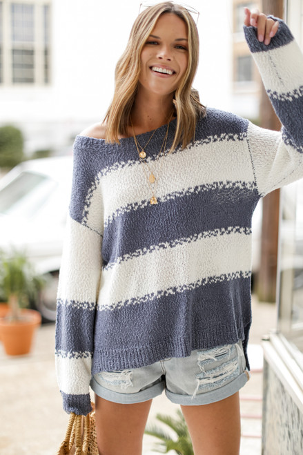 Light Blue - Oversized Striped Knit Sweater from Dress Up