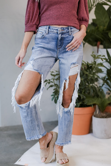 Medium Wash - Distressed Boyfriend Jeans from Dress Up