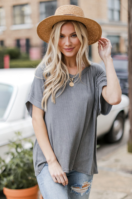 Grey - Oversized Ribbed Knit Tee