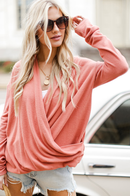 Coral - Brushed Knit Surplice Top from Dress Up