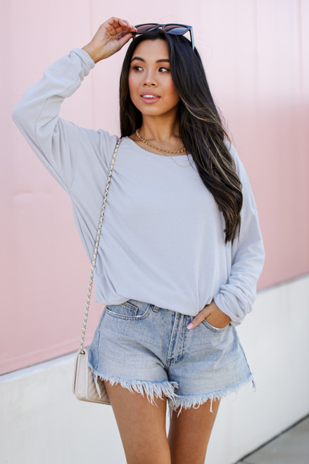 Light Blue - Dress Up model wearing a Pullover with denim shorts