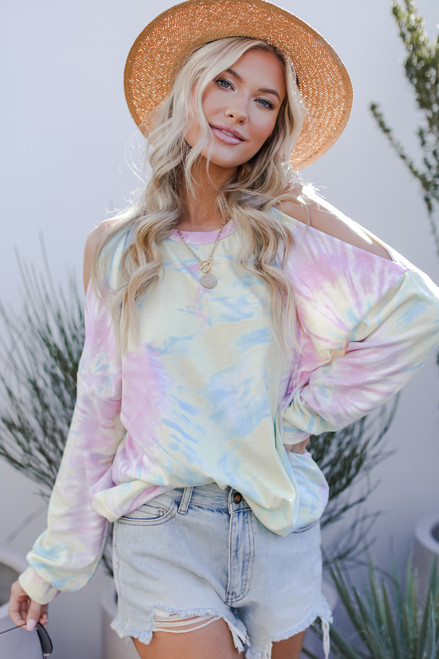 Yellow - Tie-Dye Cutout Pullover