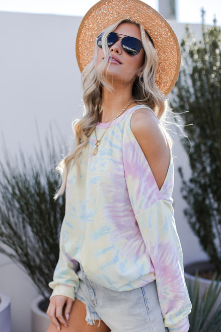 Yellow - Tie-Dye Cutout Pullover from Dress Up