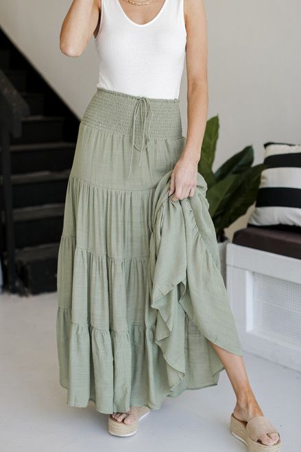 Olive - Dress Up model wearing a Boho Maxi Skirt