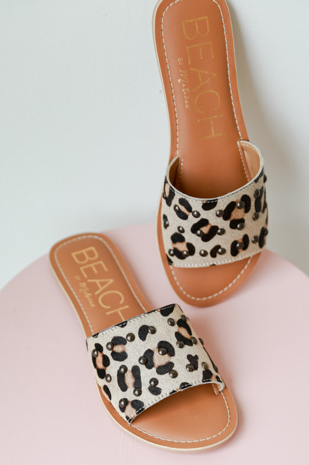 Leopard - Close Up of Leopard Slide Sandals by MATISSE FOOTWEAR