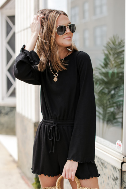 Black - Ribbed Romper