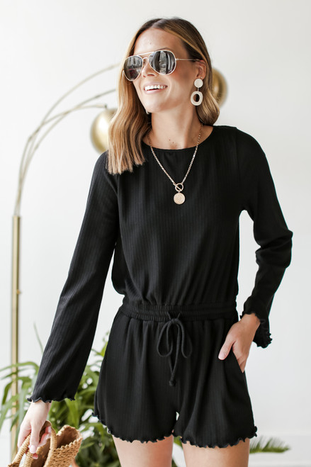 Black - Ribbed Romper from Dress Up