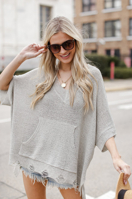 Heather Grey - Oversized Summer Knit