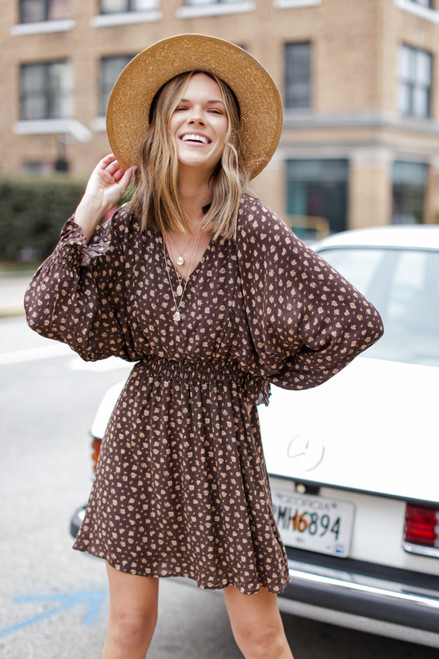 Brown - Floral Smocked Dress