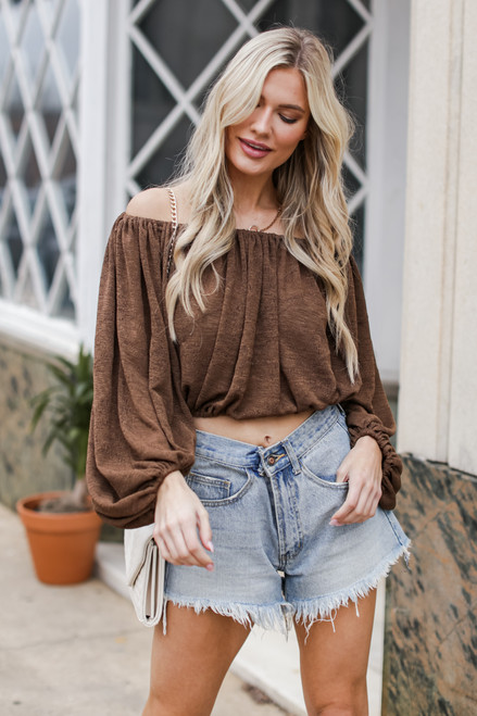 Brown - Balloon Sleeve Top