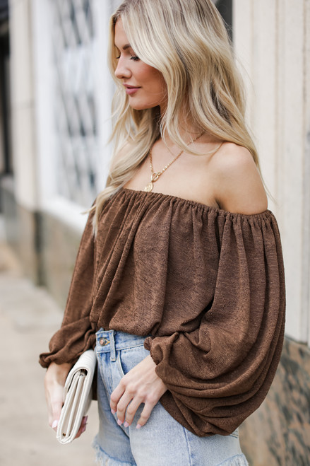 Brown - Balloon Sleeve Top from Dress Up
