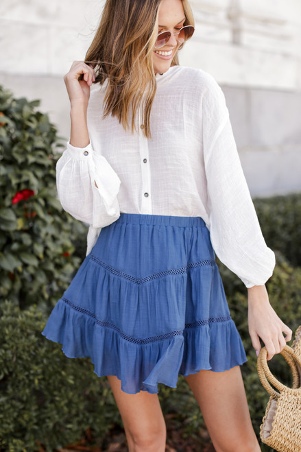 Blue - Crochet Mini Skirt