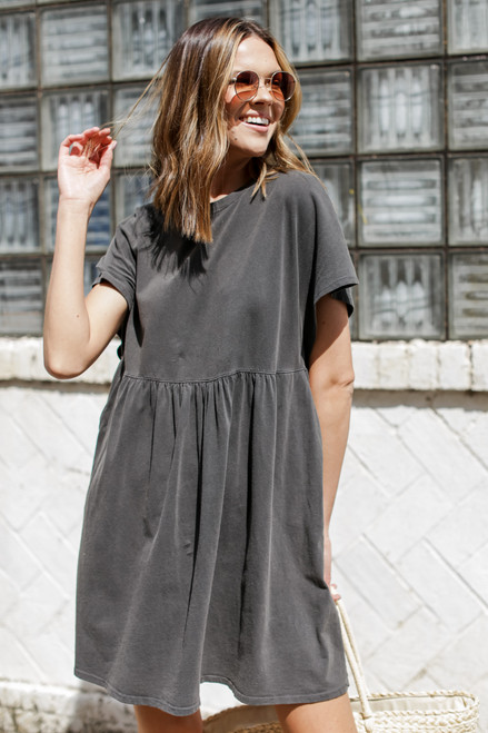 Charcoal - Vintage Washed Cotton Dress from Dress Up