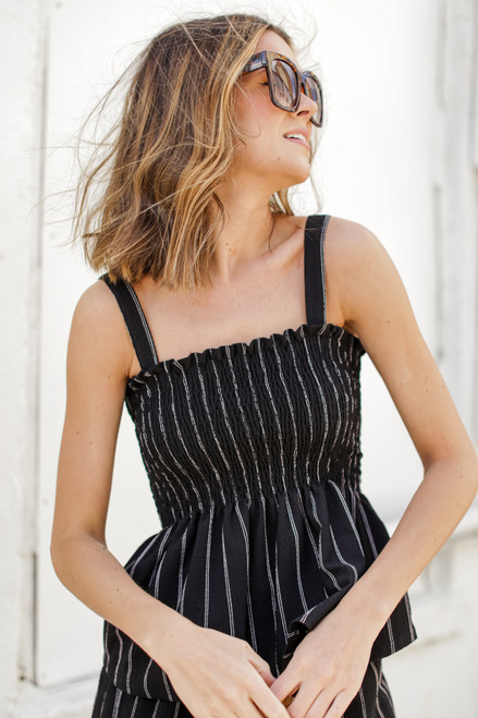 Black - Smocked Peplum Tank from Dress Up