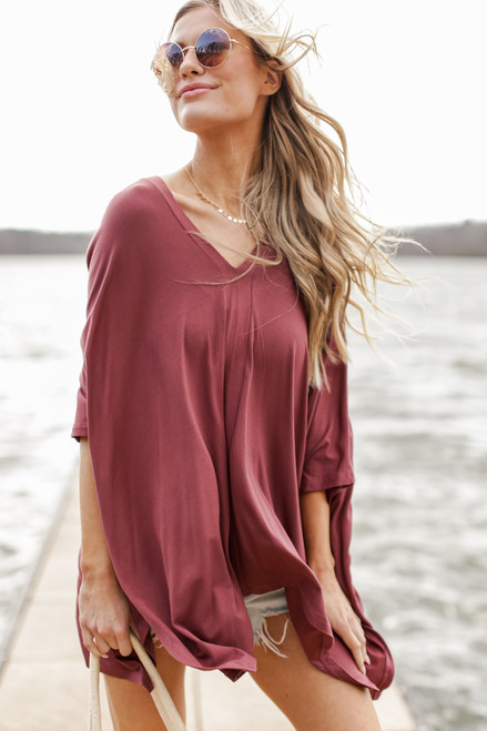 Marsala - Model wearing an Oversized Tunic