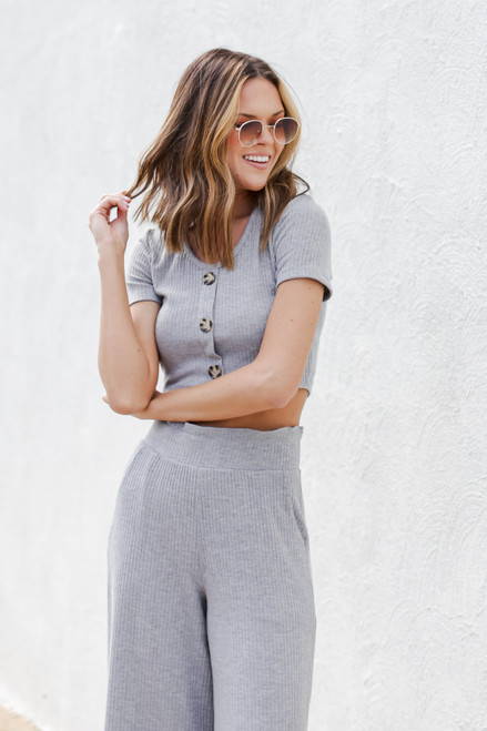 Heather Grey - Ribbed Button Front Crop Top from Dress Up