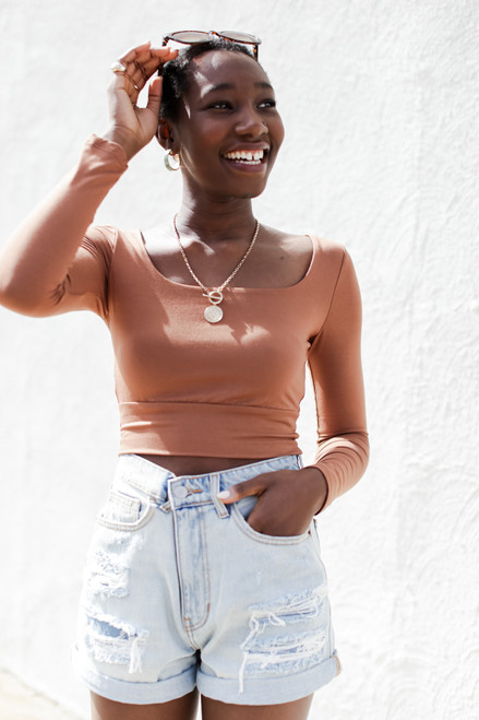 Camel - Square Neck Crop Top