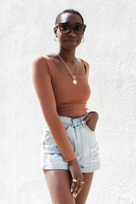 Camel - Square Neck Crop Top from Dress Up