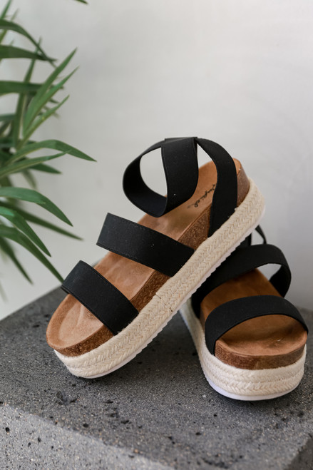 Black - Espadrille Platform Sandals
