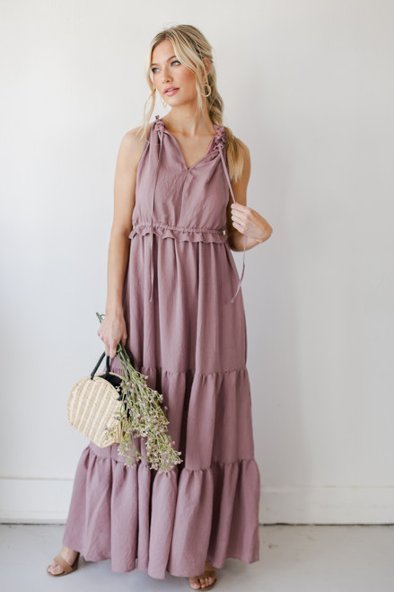 Mauve - Ruffled Maxi Dress from Dress Up