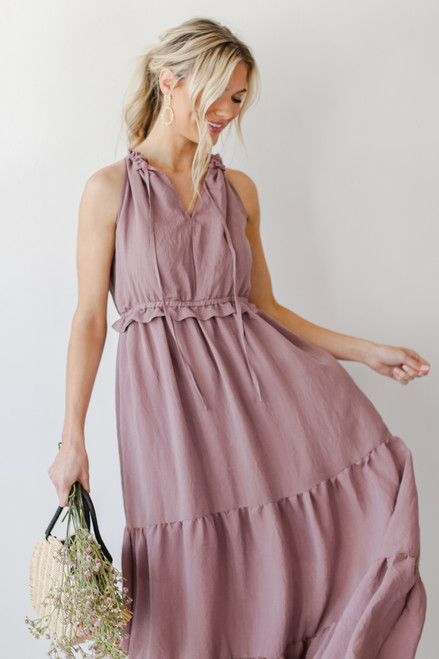 Mauve - Model wearing a Ruffled Maxi Dress