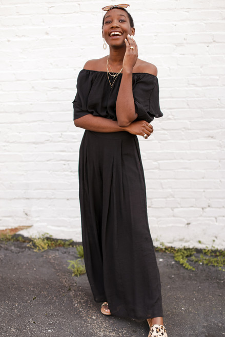 Black - Wide Leg Pants from Dress Up