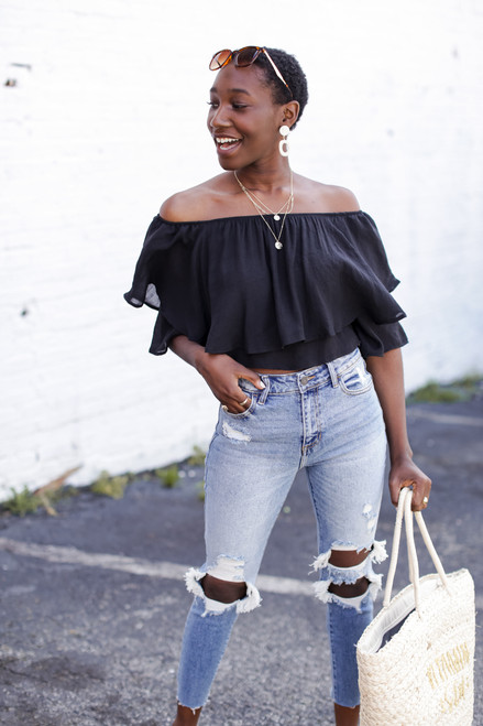 Black - Tiered Ruffle Off The Shoulder Top