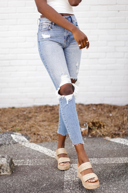Medium Wash - High Waist Distressed Skinny Jeans from Dress Up