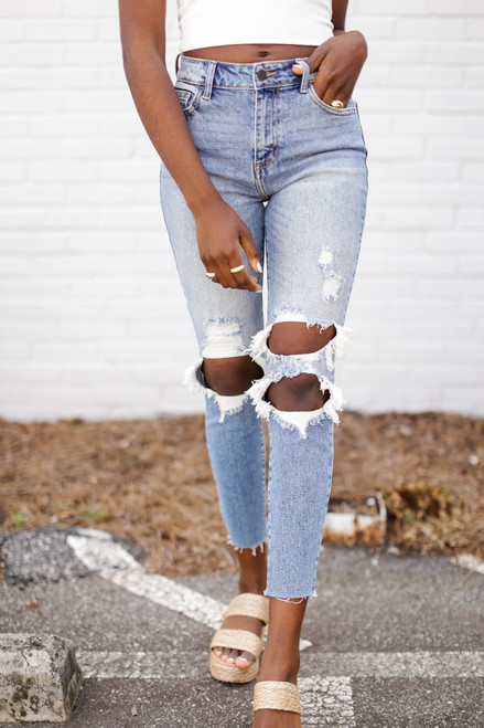 Medium Wash - High Waist Distressed Skinny Jeans