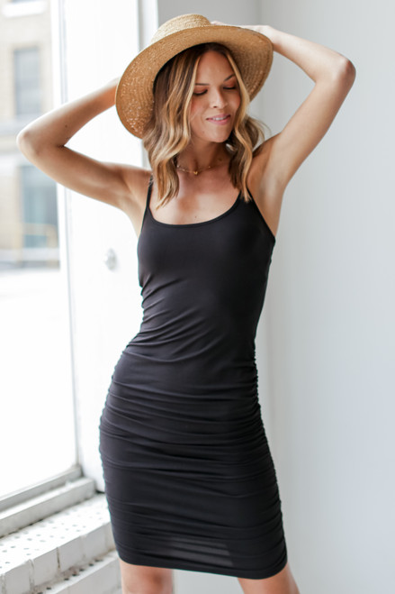 Black - Bodycon Ruched Dress from Dress Up
