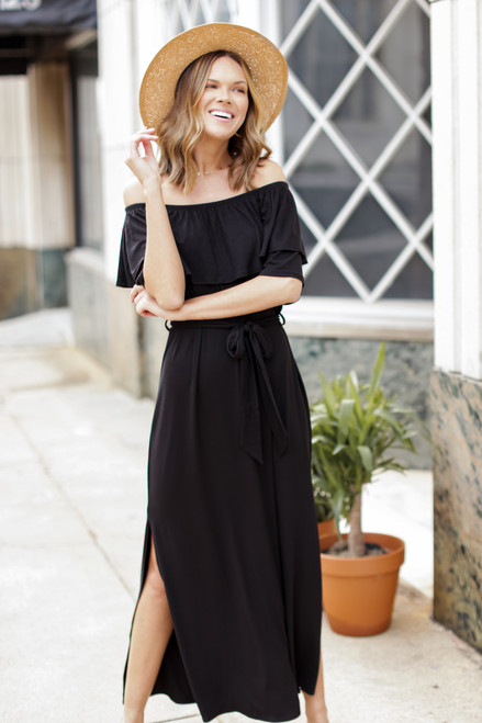 Black - Off-the-Shoulder Maxi Dress