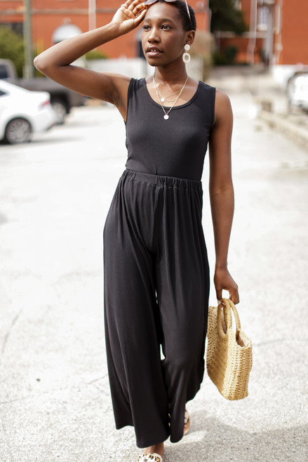 Black - Ribbed Wide Leg Pants