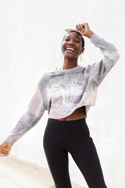 Multi - World Tour Tie-Dye Cropped Sweatshirt from Dress Up