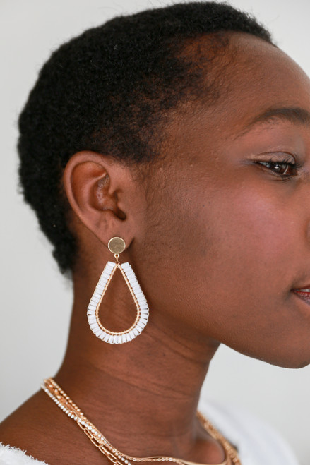 Blush - Beaded Teardrop Earrings