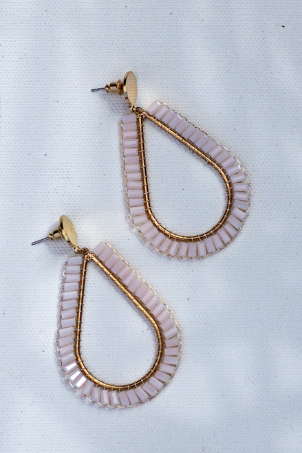Blush - Beaded Teardrop Earrings from Dress Up