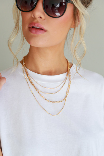 Gold - Rhinestone Chain Layered Necklace