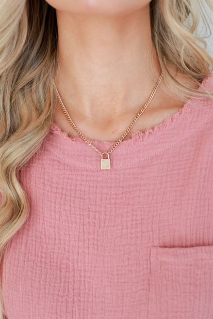 Gold - Chain Lock Necklace