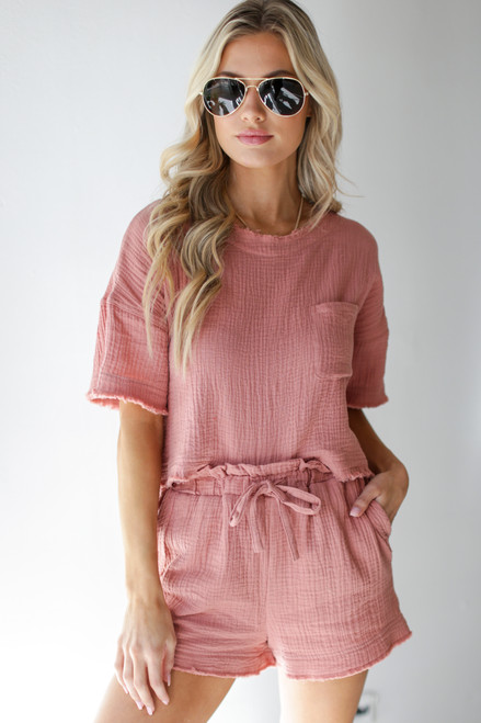 Blush - Linen Mid Crop Top