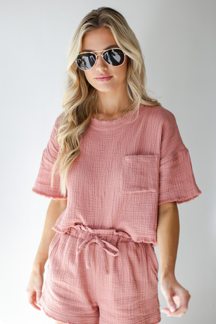 Blush - Linen Mid Crop Top from Dress Up
