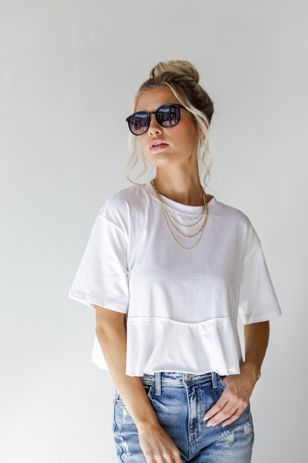 White - Ruffled Crop Tee from Dress Up