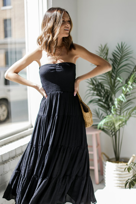 Black - Smocked Maxi Dress from Dress Up