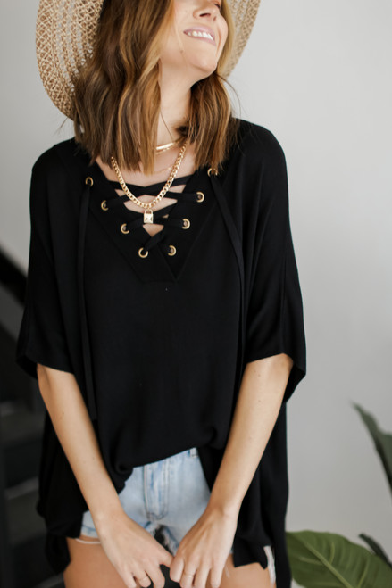 Black - Lace-Up Tunic from Dress Up