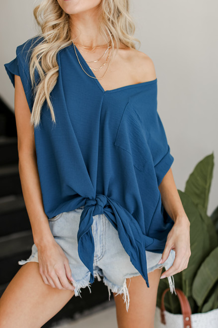 Teal - Tie-Front Blouse from Dress Up
