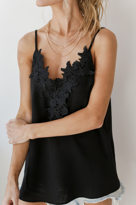 Black - Lace Crochet Tank from Dress Up
